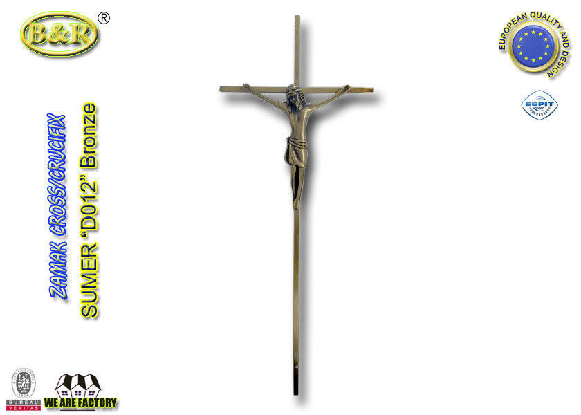 Size 45*18cm Ref No D012 antique bronze color catholic cross and crucifix coffin decoration